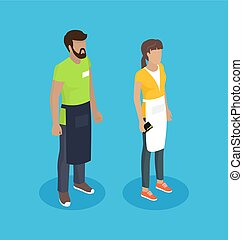 Waitress and Waiter People Vector Illustration