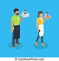 Waitress and Waiter with Trays Vector Illustration