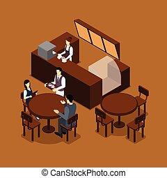 Coffee shop cafe interior isometric banner in brown tints with barista and waiter serving visitors abstract vector illustration
