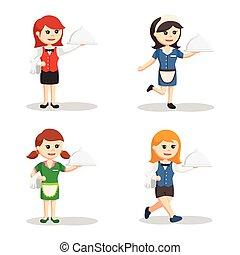 waitress character set illustration design