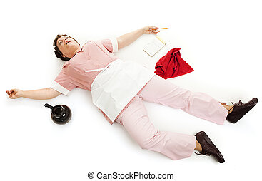 Waitress Dead Tired - Exhausted waitress collapsed on the...