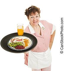 Waitress - Dinner is Served - Friendly waitress serving a...