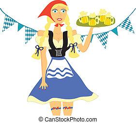 Waitress from Oktoberfest - Young Oktoberfest waitress with...