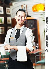 Waitress girl of commercial restaurant in uniform waiting an...