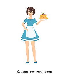 Waitress Holding Plate With Pancakes, Part Of Happy People And Their Professions Collection Of Vector Characters
