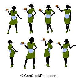 Waitress Illustration Silhouette - Female waitress...
