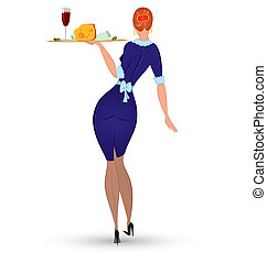 Waitress in blue uniform vector - Vector illustration of a...