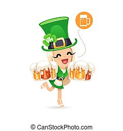 Waitress on the Patricks Day Party. Isolated on White...