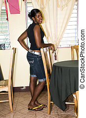 waitress posing in restaurant nicaragua - pretty young...