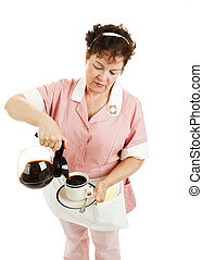 Waitress Pouring Coffee - Isolated