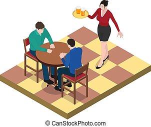waitress., pozować, mężczyźni, dwa, stół, oczekiwacz