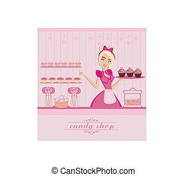 waitress selling candy
