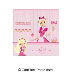 waitress selling Lollipops