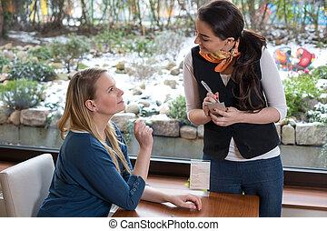 waitress serving a customer in restaurant or caf - waitress ...