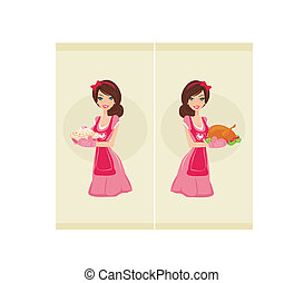 Waitress serving chicken and cake - Beautiful Waitress...