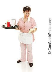 Waitress Shift Begins - A waitress starting her shift,...