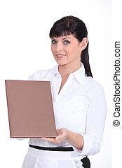 waitress showing a menu