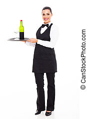 waitress sommelier with wine and glass