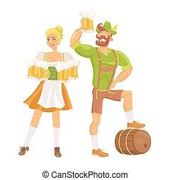 Waitress Traditional Costume Vector Illustration
