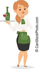 Waitress vector illustration.