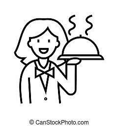 Waitress with a dish line icon, concept sign, outline vector illustration, linear symbol.