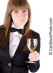 Waitress with a glass of wine