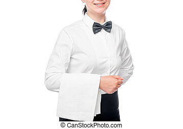 waitress with a towel on the hand isolated closeup
