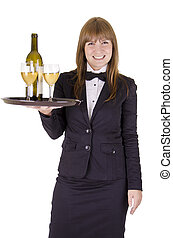 Waitress with a tray of wineglasses - Waitress serving with...