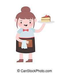 waitress with cake and menu cartoon character isolated icon design