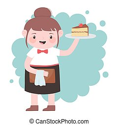 waitress with cake and menu cartoon character