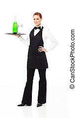 waitress with champagne and glasses