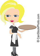 Waitress with tray