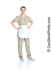waitress woman - Smiling waitress woman. Isolated over white...