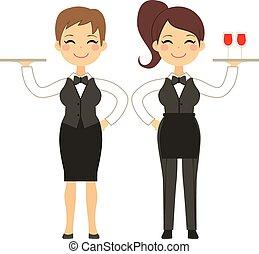 Waitress Woman Working - Beautiful waitress holding silver...