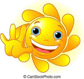 waiving, χαριτωμένος , γειά , ήλιοs