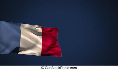 waiving, drapeau, vent, france
