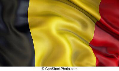 Waiving flag of Belgium