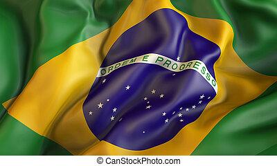 Waiving flag of Brazil
