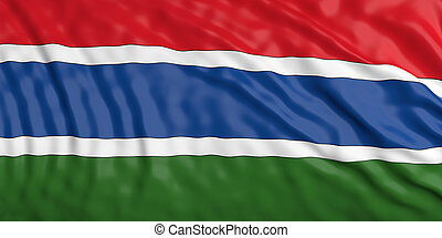 Waiving Gambia flag. 3d illustration
