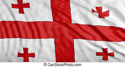 Waiving Georgia flag. 3d illustration