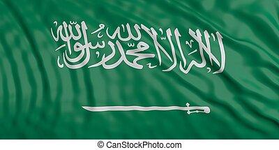 Waiving KSA flag. 3d illustration