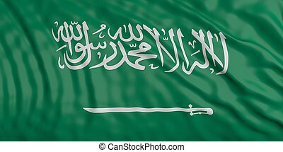 Waiving KSA flag. 3d illustration - Waiving in the wind flag...