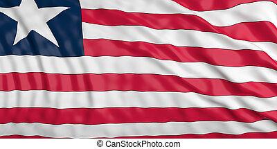 Waiving Liberia flag. 3d illustration
