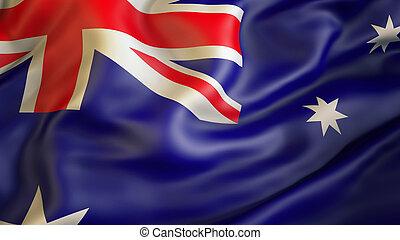 waiving, lobogó, közül, ausztrália