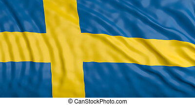 Waiving Sweden flag. 3d illustration