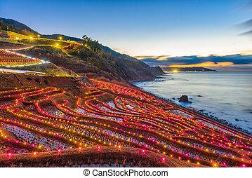 Wajima, Japan Rice Terrace Light Up - Wajima, Japan at...