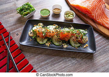 Wakame algae salmon salad and wasabi sesame - Wakame algae...