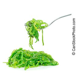 A portion of wakame edible seaweed on a white background