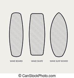 Wake board, wake skate, wake surf icon