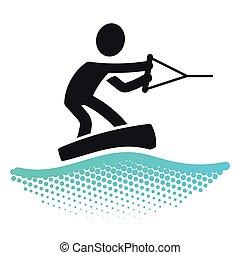Wake boarding icon pictograms symbol